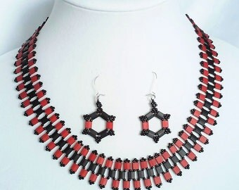 Jewelry Set / Necklace Set / Tila Beaded Necklace and Earrings /Jewelry Gift Set / Nickel Free Jewelry