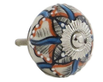 Blue and Orange Star Pattern, Raised Dots Knob Pull for Drawers, Doors, Dressers, Cabinets - M363