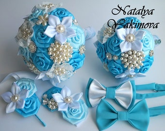 Brooch Bouquet, Bridal Bouquet, Wedding Bouquet, Fabric Bouquet, Unique Bouquet, Toss bouquet, Wedding Accessories, Wedding set, blue wite