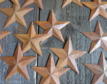 """Set of 25 Rusty Tin Stars 3.5 inch Dimensional Primitive Barn Country Rustic Style 3 1/2"""" Diameter Craft Metal Stars"""