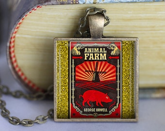 Animal Farm Book Necklace Literary Gifts Literary Necklace George Orwell Literature Gifts Animal Farm Book Lover keyfob Keychain