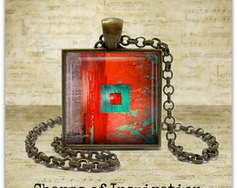 Red Abstract Art Necklace Abstract jewelry Wearable Art Jewelry Abstract Art keychain Keyfob Art Pendant Gift for Artist Mom Teacher Her