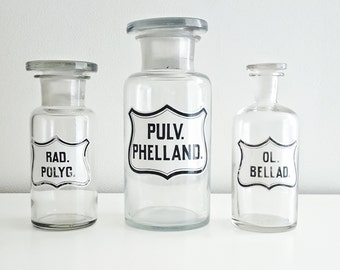 Vintage Apothecary Bottles - Apothecary Jars - Set of 3 - Black and White Labels - Glass bottles with Stoppers