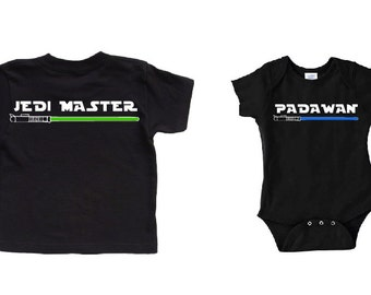 Daddy and Baby Matching Daddy and Son Shirts Jedi Master and Padawan Star Wars Baby Star Wars Father Son Daddy Star Wars Shirt Jedi Padawan