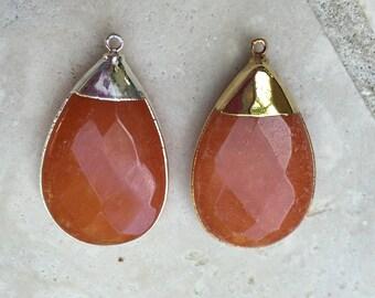 Orange Jade Quartzite Teardrop Pendant Gold Vermeil Bezel