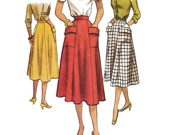 Vintage Sewing Pattern 1950s 1951 Women's New Look Skirt Pockets McCall's 8494 Size 28 Waist