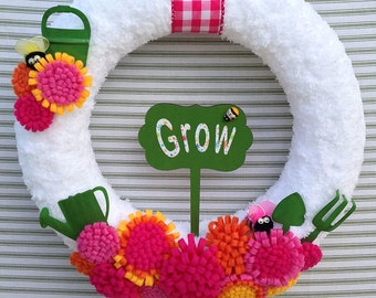 Garden Wreath, Felt Flower Wreath, Summer Flower Wreath, Yarn Wreath, Yarn Flower Wreath, Summer Yarn Wreath,