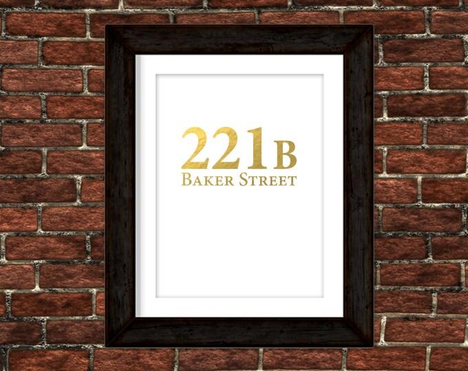 Sherlock Holmes - 221B Baker Street - Real Gold Foil Print