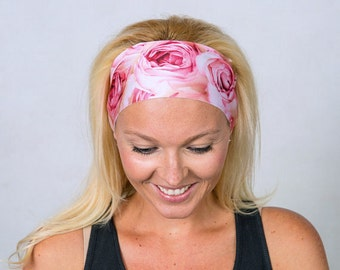 Fitness Headband-Yoga Headband-Pink Roses Running Headband-Workout Headband-Boho Headband-Fashion Headband-Women Headband-Pink Headband