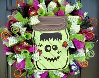 Halloween Deco Mesh, Frankenstein Deco Mesh, Trick or Treat Wreath, Fall Deco Mesh, Halloween Decor