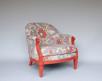 Coral & Floral Upholstered Club Chair