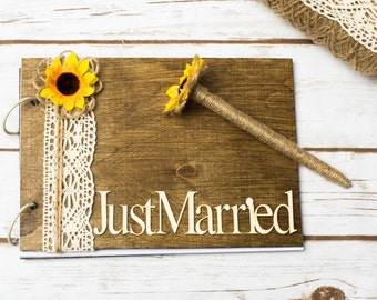 Wedding Guestbook Sunflower Guest Book Rustic Guest book Burlap Lace Mr Mrs Note Book Rustic Vow Advice Guestbook