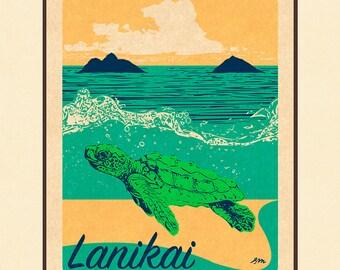 Art Print Lanikai Honu Retro Surf