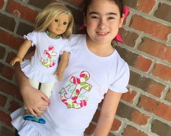 Doll/ Girls Anchor Shirt. American Doll Shirt. Journey Doll Shirt. 18 inch Doll Shirt. Custom. American Girl Shirt. Doll and Me. Matching