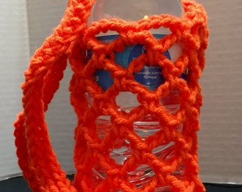 Water Bottle Holder, Crochet Water Bottle Holder, Crochet Bottle Carrier, Clemson Bottle Holder