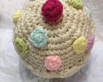 Crocheted Cupcake Hat, Infant Cupcake Hat, Newborn Cupcake Hat,