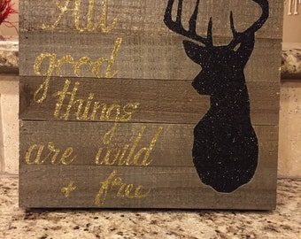 Wooden Deer Head Silhouette with Quote