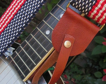 Leather Banjo Strap Adapter, Banjolele Strap Adapters/Converters, Black, Brown or Tan Leather