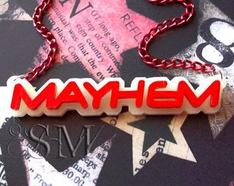 Mayhem - GLOW in the DARK acrylic necklace, red, laser cut, anarchy