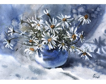 Chamomiles flowers watercolor