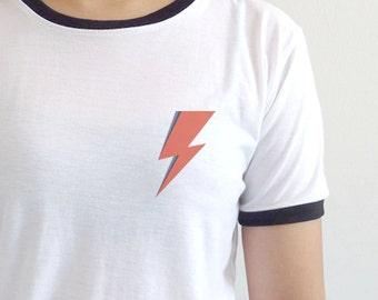 David Bowie Shirt Ziggy Stardust Lightning Bolt Pocket T-shirt Aladdin Sane  Tee
