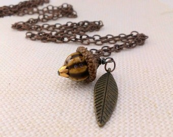 Acorn Pendant - Real Acorn Cap & Brown/Tan Porcelain Bead - Acorn Necklace with Leaf Charm