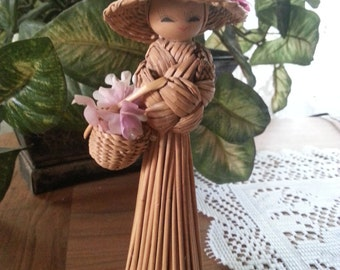 Vintage Woven Straw Doll / Figurine