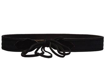 Black Suede YSL Tie Up Belt