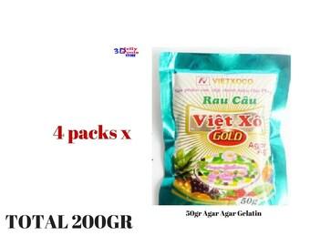 4 x Agar Agar Gelatin Dietary Fiber Jelly Powder Best Quality Agar-Agar