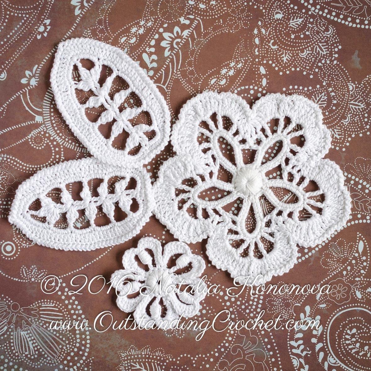 Crochet Flower Lace Pattern : Crochet Flower Leaf Motif Pattern irish Crochet Lace Flower