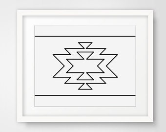 Navajo Print, Geometric Modern Home Decor, Aztec Pattern, Black and White Wall Prints, Native Prints, Printable Art, Signs, Minimalist