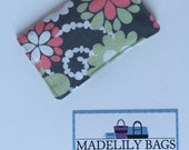 Credit Card,Business Card, Gift Card Holder, floral, pink, green, gray