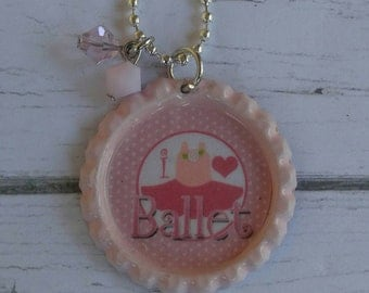 Girls Sports Jewelry// Bottlecap Necklace// Ballet Jewelry// Ballet Gift// Ballet Party Favor