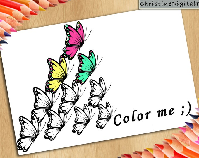 Color Me, Colouring Sheets, Cute Coloring Page, Coloring Butterflies, Coloring Girl Gift, Children Coloring, Kids Coloring Sheet