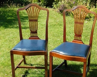 Pair of Mahogany Chairs with drop in Faux Leather Seats