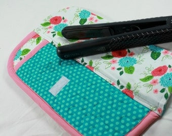 Flat Iron/Curling Wand Travel Case, Heat Resistant, White, Pink,  and Blue Flowers and Polka Dots
