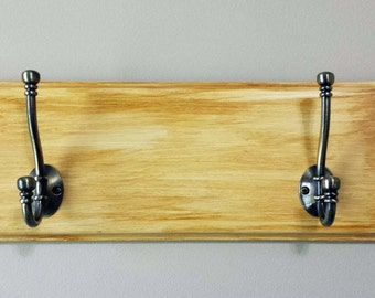 Wood Coat/Backpack/Hat/Handbag Rack (Small) - Brown/Burnt Umber Weathered Look With 2 Large Heavy Duty Stylish Double Hooks