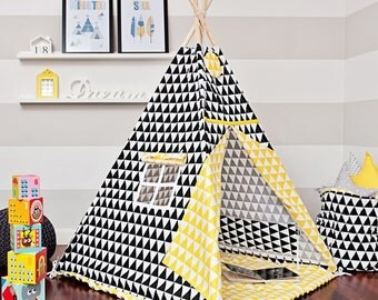 Teepee set with floor mat - Contrast Triangle