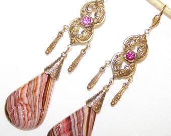 Vintage Old Czech Art Nouveau striped rhinestone  Glass  drop earrings