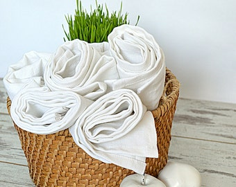 Linen towel set of 5 - White linen towels - Soft natural linen hand/ face towels - Handmade linen towels