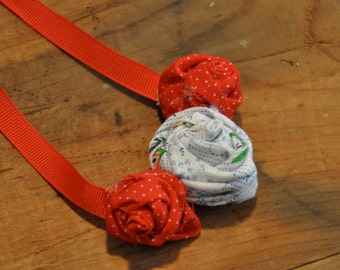 Red vintage fabric flower necklace, FREE SHIPPING