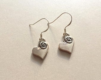 Heart & Rose Earrings