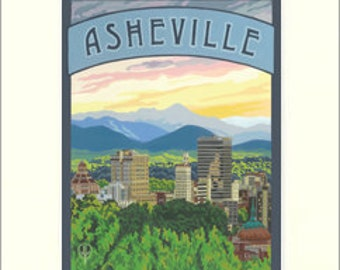 Asheville, NC Matted Giclée Art Print: The Bungalow Craft by Julie Leidel, WPA-Style Poster Art, Arts & Crafts Movement