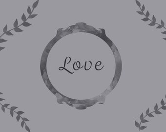 Printable Wall Art/Love/Grey