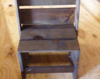 Child's step-stool and chair combo made from reclaimed wood