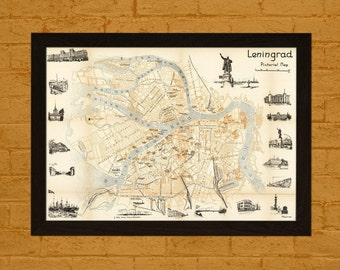 Old Leningrad Map 1960 Ancient Map  Art Antique Map Poster Old Map Print Map Leningrad Russian Map Soviet Map Saint Petersburg Map