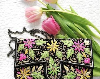 Embelished embroidered wedding clutch evening clutch bridesmaid clutch party clutch prom clutch bridesmaid gift wedding purse gift