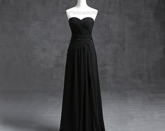 Black Ball Gown with Beaded Waistband