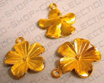 19mm Lanai Flower Charm Pendant, Jewelry Making ,Charms, Alloy, Gold Tone,