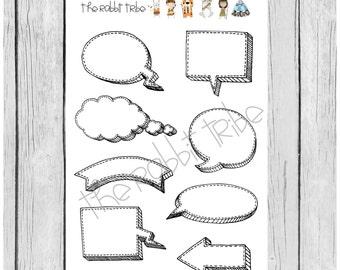 Mini Sticker sheet - speech bubble stickers - planner stickers